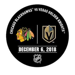 Vegas Golden Knights Warmup Puck December 6, 2018 vs. Chicago Blackhawks