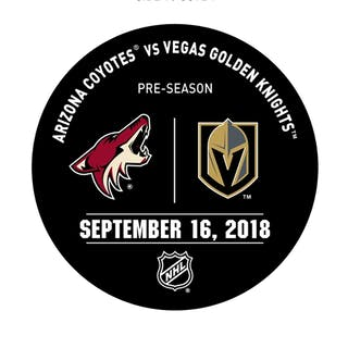 Vegas Golden Knights Warmup Puck September 16, 2018 vs. Arizona Coyotes 2018-19