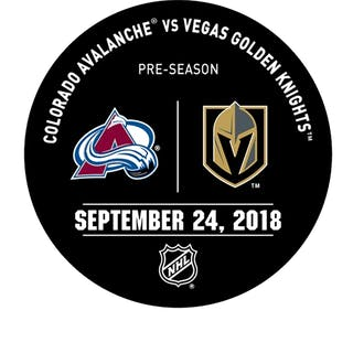 Vegas Golden Knights Warmup Puck September 24, 2018 vs. Colorado Avalanche