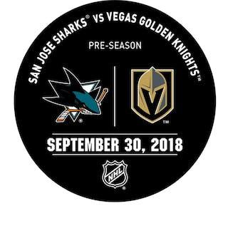 Vegas Golden Knights Warmup Puck September 30, 2018 vs. San Jose Sharks 2018-19