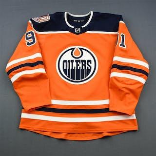 Caggiula, Drake Orange Set 1 w/ 40th Anniversary Patch Edmonton Oilers