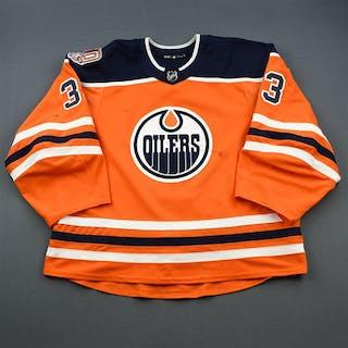 Talbot, Cam Orange Set 1 w/ 40th Anniversary Patch Edmonton Oilers