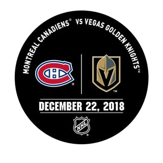 Vegas Golden Knights Warmup Puck December 22, 2018 vs. Montreal Canadiens