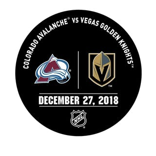 Vegas Golden Knights Warmup Puck December 27, 2018 vs. Colorado Avalanche