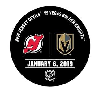 Vegas Golden Knights Warmup Puck January 6, 2019 vs. New Jersey Devils 2018-19
