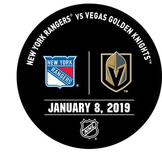 Vegas Golden Knights Warmup Puck January 8, 2019 vs. New York Rangers 2018-19