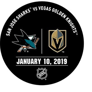 Vegas Golden Knights Warmup Puck January 10, 2019 vs. San Jose Sharks 2018-19