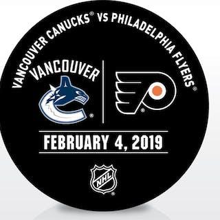 Philadelphia Flyers Warmup Puck February 4, 2019 vs. Vancouver Canucks