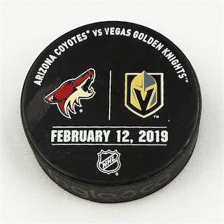 Vegas Golden Knights Warmup Puck February 12, 2019 vs. Arizona Coyotes 2018-19