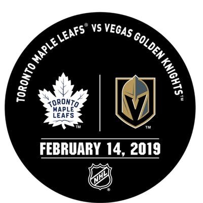 Vegas Golden Knights Warmup Puck February 14, 2019 vs. Toronto Maple