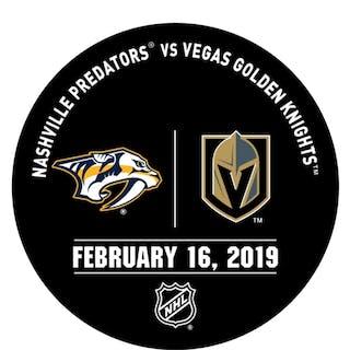 Vegas Golden Knights Warmup Puck February 16, 2019 vs. Nashville Predators