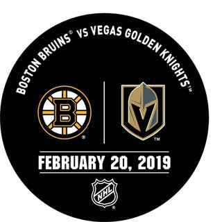 Vegas Golden Knights Warmup Puck February 20, 2019 vs. Boston Bruins 2018-19