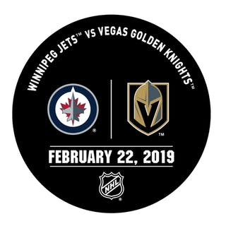 Vegas Golden Knights Warmup Puck February 22, 2019 vs. Winnipeg Jets 2018-19