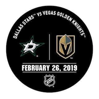 Vegas Golden Knights Warmup Puck February 26, 2019 vs. Dallas Stars 2018-19
