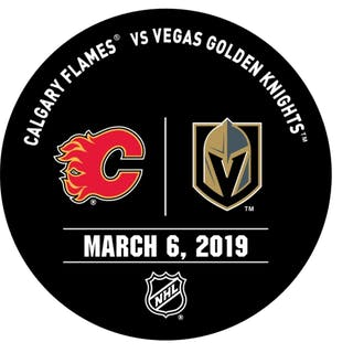 Vegas Golden Knights Warmup Puck March 6, 2019 vs. Calgary Flames 2018-19