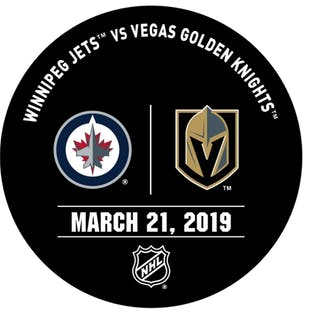 Vegas Golden Knights Warmup Puck March 21, 2019 vs. Winnipeg Jets 2018-19
