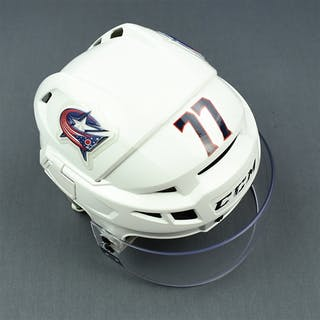 Anderson, Josh White, CCM Helmet w/ Oakley Shield Columbus Blue Jackets