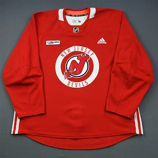 Hischier, Nico Red Practice Jersey w/ RWJ Barnabas Health Patch New