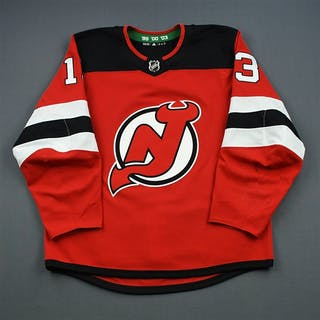 Hischier, Nico Red Set 3 (A removed) New Jersey Devils 2018-19 #13 Size: 54