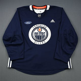 adidas Navy Practice Jersey w/ Ford Patch Edmonton Oilers 2018-19 # Size: 56