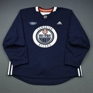 adidas Navy Practice Jersey w/ Ford Patch Edmonton Oilers 2018-19 Size: 58