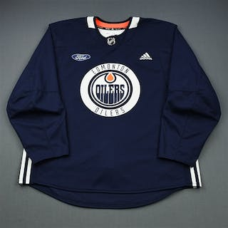 adidas Navy Practice Jersey w/ Ford Patch Edmonton Oilers 2018-19 # Size: 58