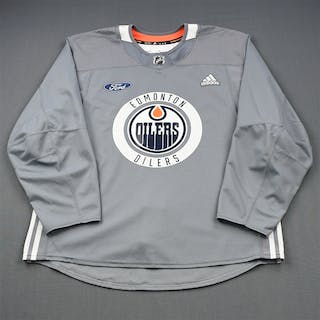 adidas Gray Practice Jersey w/ Ford Patch Edmonton Oilers 2018-19 # Size: 56