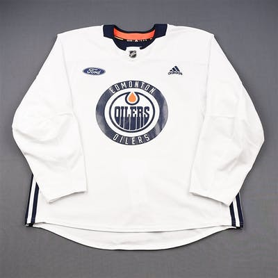 adidas White Practice Jersey w/ Ford Patch Edmonton Oilers 2018-19 # Size: 58
