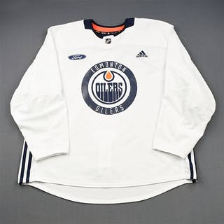adidas White Practice Jersey w/ Ford Patch Edmonton Oilers 2018-19 # Size: 58+