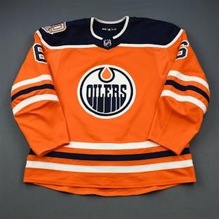 Larsson, Adam Orange Set 1 w/ 40th Anniversary Patch Edmonton Oilers