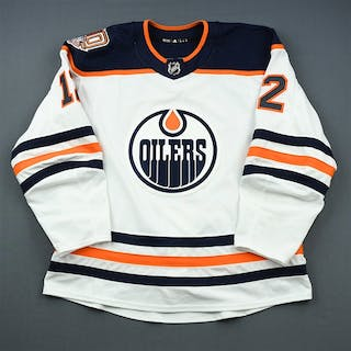 Cave, Colby White Set 2 w/ 40th Anniversary Patch Edmonton Oilers