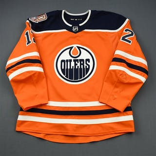 Cave, Colby Orange Set 2 w/ 40th Anniversary Patch Edmonton Oilers