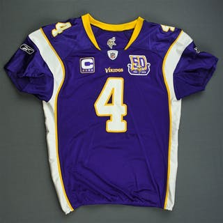 Favre, Brett * Purple w/C & 50-Year Patch - worn 11/21/10 vs. Green