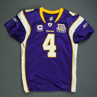 Favre, Brett * Purple w/C & 50-Year Patch - worn 9/9/10 vs. New Orleans