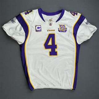 Favre, Brett * White w/C & 50-Year Patch- worn 11/28/10 vs. Washington