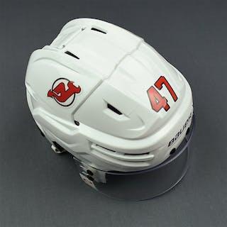 Quenneville, John White, Bauer Helmet w/ Oakley Shield New Jersey