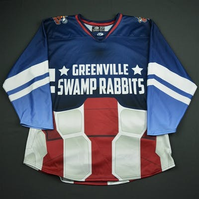 Blank Blue - Captain America - Game-Issued Greenville Swamp Rabbits