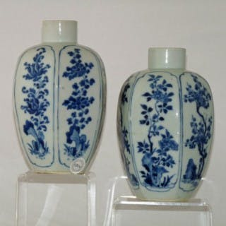 LATE TRANSITIONAL / EARLY KANGXI BLUE AND WHITE PAIR OF PORCELAIN VASES