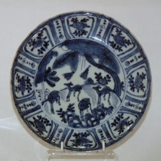 MING KRAAK BLUE AND WHITE PORCELAIN SAUCER PLATE