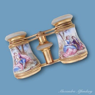 A pair of French Enamel and Brass Opera Glasses with Romantic Scenes