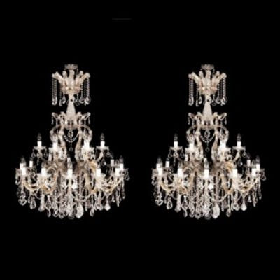 A pair of cut glass chandeliers