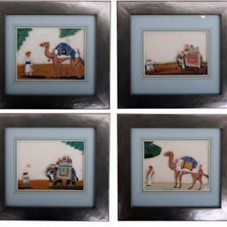Set of 4 HEIC School Gouache Paintings on Mica