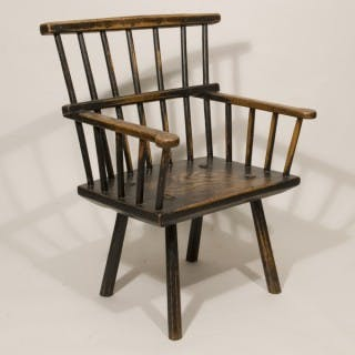 Late 18th Century Ash Low Backed Windsor Chair