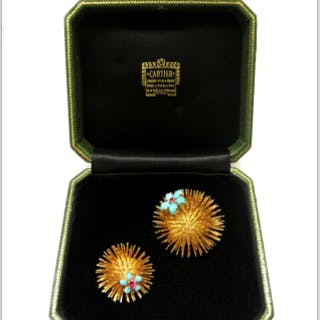 pair of Cartier Paris 18 carat gold sea urchin brooches