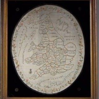 Antique Sampler, 1801 Map of England & Wales Sampler by Elizabeth Colley