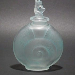 René Lalique Frosted with blue staining Glass 'Amphitrite' Perfume bottle