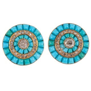 Turquoise and Diamond target ear clips