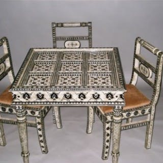 Unusual Set of Indian Camel Bone Furniture Incl. Four Chairs, Square