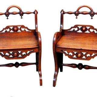 Antique Pair Oak Gothic Window Seat Stools