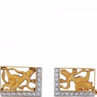 A Pair of Diamond and Two-Color Gold Gentleman's Cufflinks
